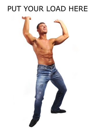 unknown men: Macho musculature man with a copy space isolated on white - GREAT TO LOAD YOUR TEXT OR PICTURE ETC.