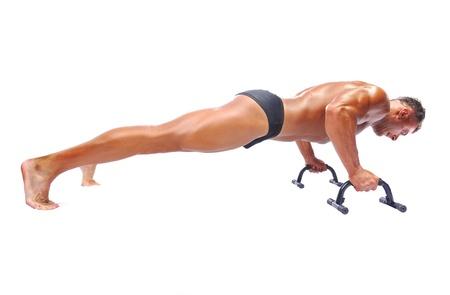 Man doing push-ups, isolated photo