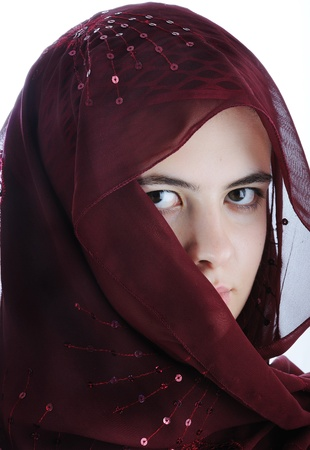 Arab teenager female isolated on a white background photo