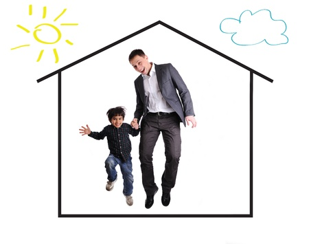 happy father in illustrated home  Stock Photo - 8643067