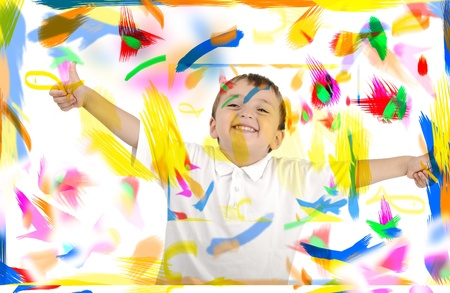 Happy child with thumbs up in colors, space, room Stock Photo - 8799140