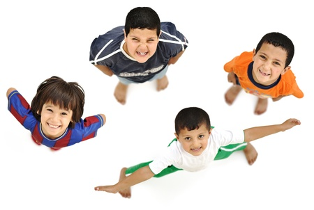 boy barefoot: Happy child, positive fresh little smiling boy from above, different angle, isolated on white, full body