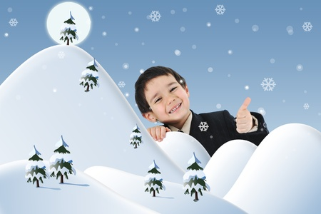 Conceptual combined with illustration. New year, winter and snow, child and happiness for your card. illustration