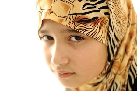 Sad covered muslim girl photo