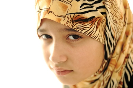 cultural and ethnic clothing: Sad covered muslim girl