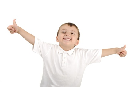 Very cute positive smiling little boy, isolated. Thumbs up, happy succesfull winner.  Stock Photo - 8799003