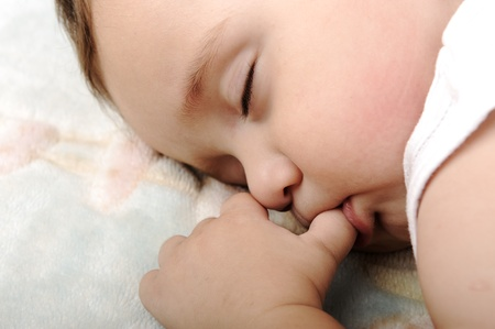 sucking: Little cute baby sleeping