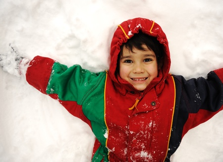 Cute kid in snow, snowtime, winter, happiness Stock Photo - 8804952