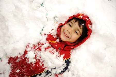 bury: Cute kid in snow, snowtime, winter, happiness