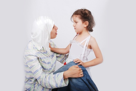 Muslim mother and daugther photo