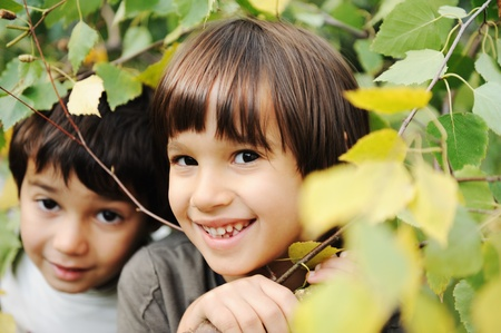 Happiness without limit, happy children together outdoor, closeup Stock Photo - 8910652