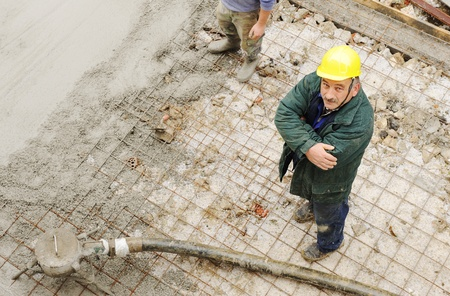 pour: Working with cement outdoor