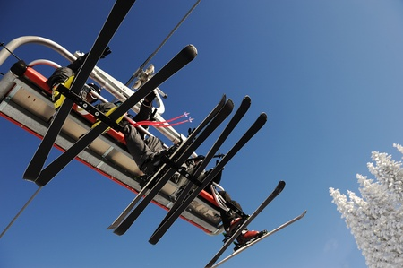 Sky sky lift carrying skiers. photo