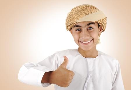 kuwait: Arabic kid with thumb up