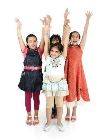 Group of four girls together on white background, rising hands up Stock Photo - 9017215
