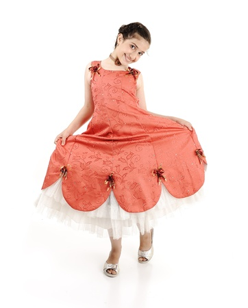 dance preteen: Adorable beautiful girl, full lenght body isolated Stock Photo