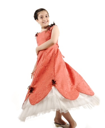 dance preteen: Adorable beautiful girl, full lenght body isolated, dancing