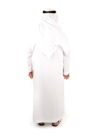 white robe: Arabic man isolated, from back