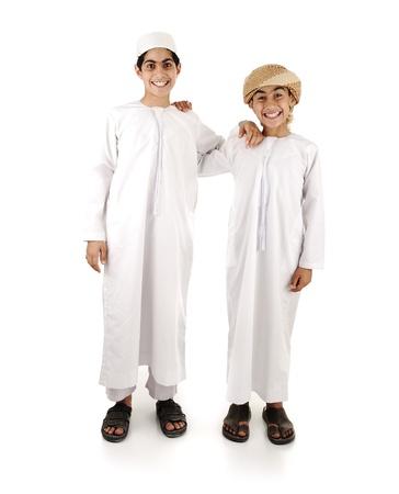 boy arabic: Two arabic friends isolated