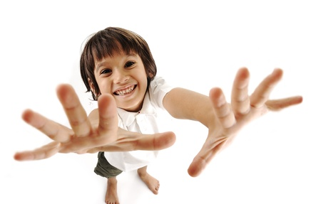 10 fingers: Positive cute kid trying to catch you Stock Photo