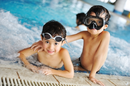 swim mask: Children at pool, happiness and joy, preparing for the summer!