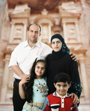 Happy Muslim family in Petra, Jordan photo