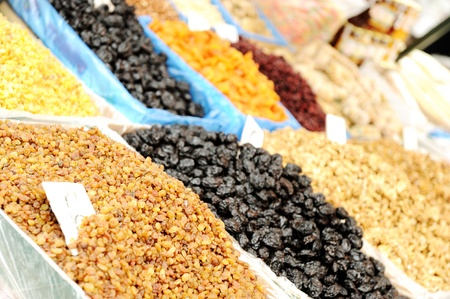 Natural organic food on market place, piazza, bazaar photo