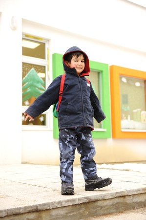 bookbag: Little cute preschool child with bag on his back