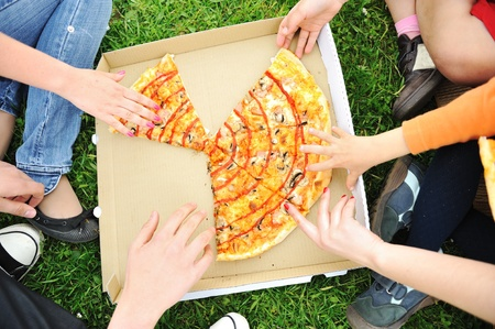 Pizza family picnic, eating outdoor together photo