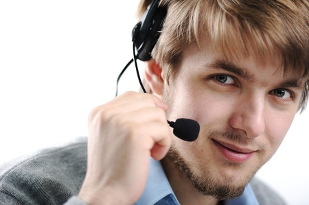 Attractive blond support person, male Stock Photo - 9208182