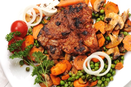 Meat with Vegetables and Greens - prepared and served meal Stock Photo - 9372840