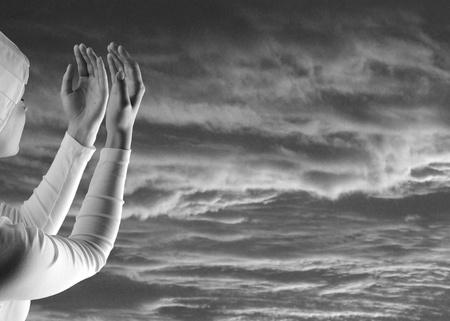 White prayer on black Stock Photo - 9472023