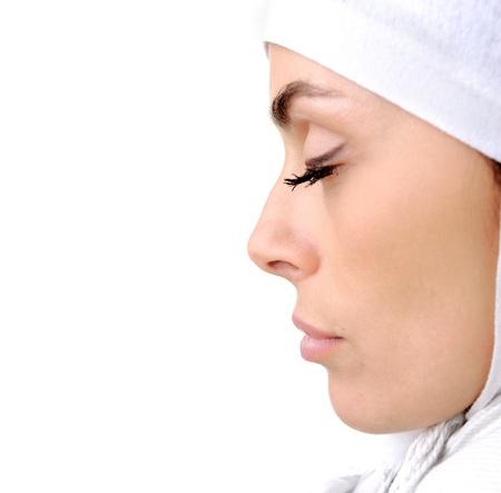 Beautiful Muslim woman isolated on white, profile photo