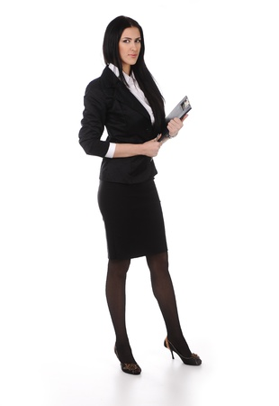 white body suit: Full length young business woman standing with her clipboard isolated on white