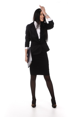 Stressed businesswoman standing, isolated, full length photo