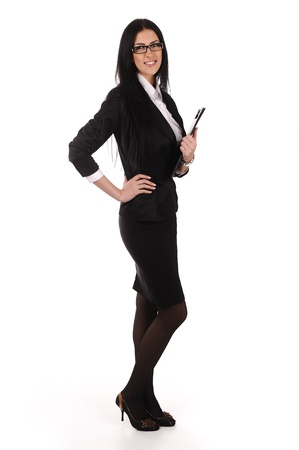side pose: business woman  with documents in hands, isolated Stock Photo