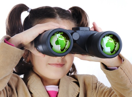 girl scout: Little girl with binoculars, earth globe in glasses