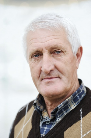 60 70: Portrait of handsome senior man with gray   hair Stock Photo