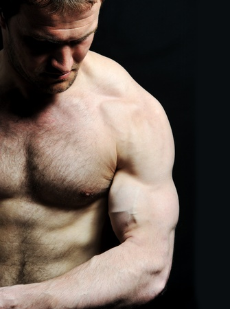 male torso: Strong man with a helthy body Stock Photo