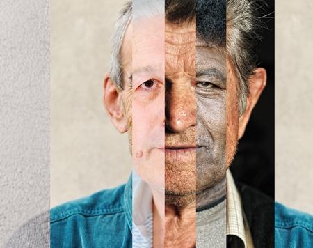 collage caras: Rostro masculino humano de varias personas diferentes, collage vertical concepto artístico