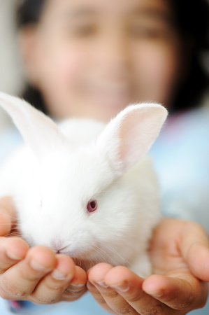 contracted: Happy child with beautiful cute Easter bunny pet