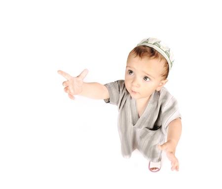 muslim baby: Muslim arabic little cute boy isolated on white