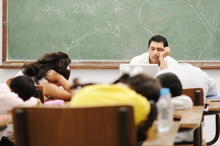 indolence: Education activities in classroom at school, sleeping all