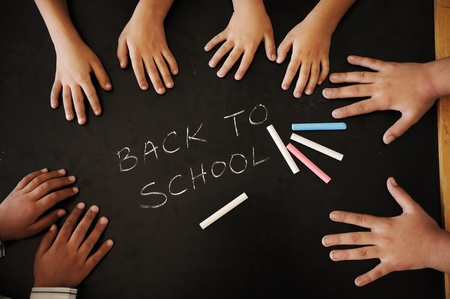 back to school: Education activities in classroom at school, happy children learning Stock Photo