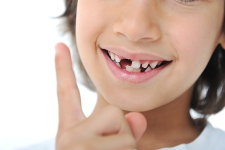 milk tooth: Lost milk tooth fairy, cute boy with long hair