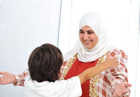 arabic boy: Muslim arabic mother and son