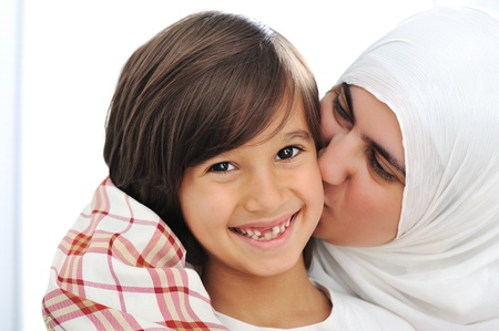 muslim woman: Mother and son, truly love