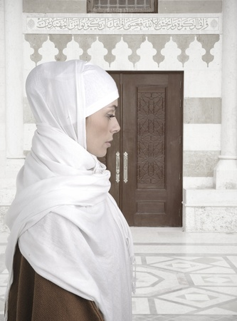 Beautiful Muslim woman isolated on white, profile photo