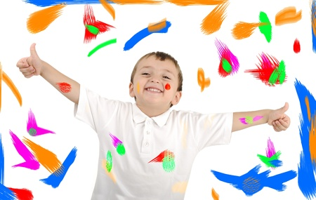 Happy kid with colors on background Stock Photo - 10316799