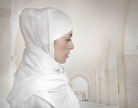 woman profile face: Beautiful Muslim woman isolated on white, profile